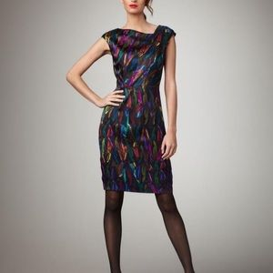 Black Milly Dress with Rainbow Color Feathers 0